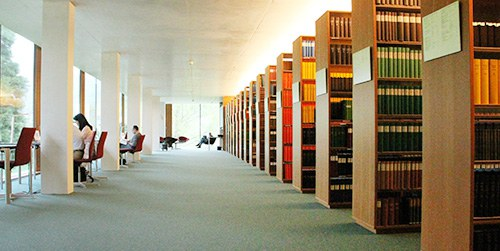 bookshelfs at MFO Library