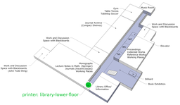 Map of location of library-lower-floor printer