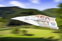 paper plane out of a 50€ bank note